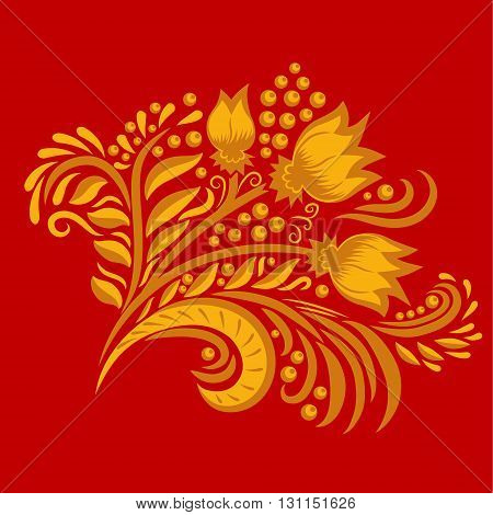 Khokhloma decorated gold ornament on red background. Design element. Illustration for greeting cards, invitations, and other printing projects.