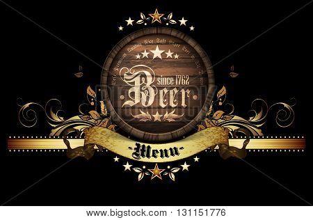 design template menu beer restaurant on a black background
