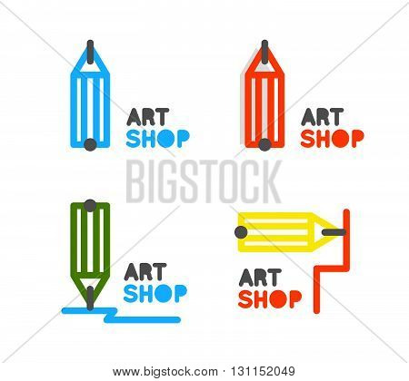 Pencil Vector Logo. Outline Pencil Vector Icon. Stationery Store Pencil Vector Logo. Training Course