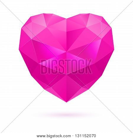 Pink polygonal heart on white background. Amethyst gem