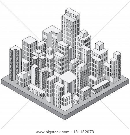 Abstract Isometric City Concept. Ready for Your Text and Design.