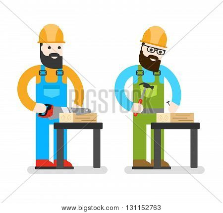 Сonstruction Worker With Saw. Man Sawing A Board. Woodworcker Or Joiner. Good Builder In Uniform. Se