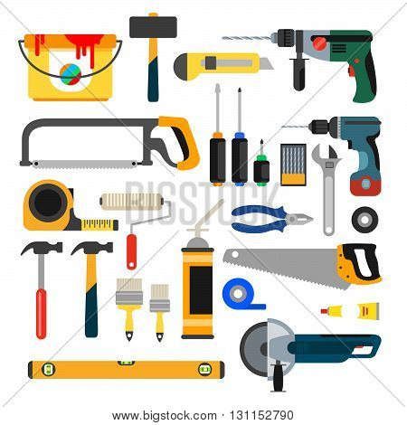Working Tools Vector Set. Tools For Repair And Construction. Hand Drill, Saw, Level, Hammer, Screwdr