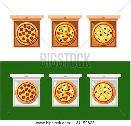 Pizza Food Box. Vector Set Of Pizza Icons Isolated On Delivery Boxes. Pizza Vector Collection With C