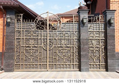 the forged metal gate with a nest of storks