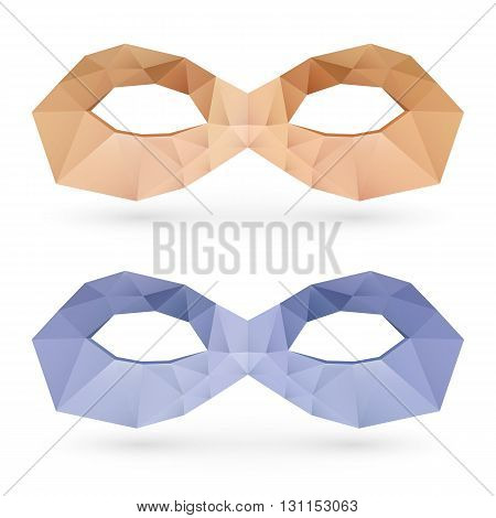 Two abstract polygonal masks on white background