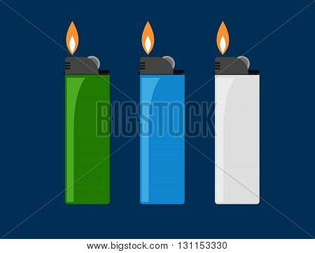 Сigarette Lighter Vector Illustration. Cigarette Lighter Icon Set. Cigarette Lighter Flame. Light A