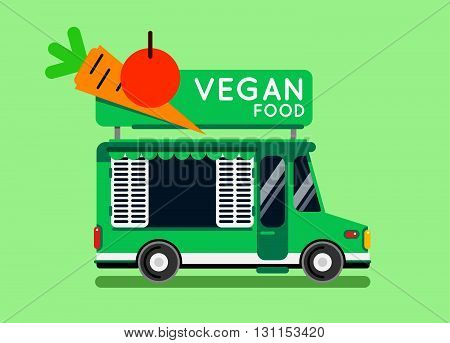 Vegan Food Truck City Car. Vegan Food Hipster Truck, Auto Cafe, Mobile Kitchen, Hot Fastfood, Vegeta