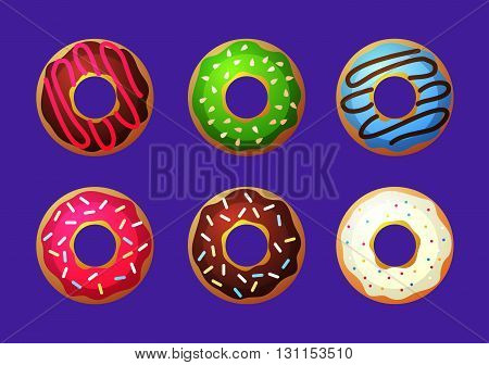 Donut Vector Set. Colored Donuts With Cream And Glaze. Sweet Food Cakes Donut. Bakery Donut, Cake Fo