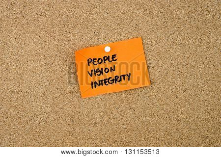 People Vision Integrity Written On Orange Paper Note