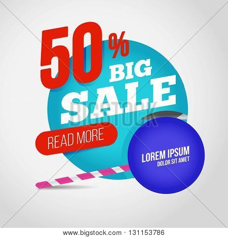 Big Sale Promotion Banner With Offer. For Coupon Or Web Background. Candy With Percent Sale. Colorfu