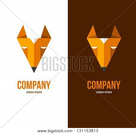 Fox Logo Template. Triangle Orange Fox Sign. For Computer Software Or Blog.