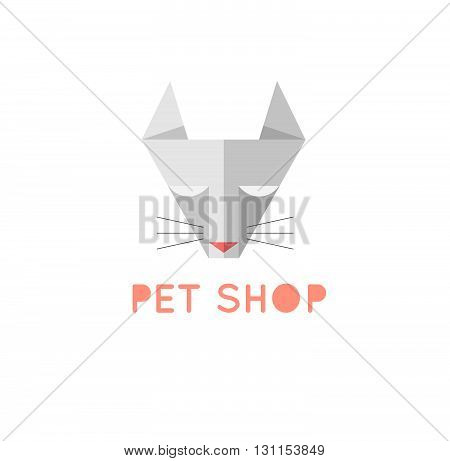 Pet Shop Logo Template. Triangle Grey Cat Sign. Pet Shop Or Store Emblem.