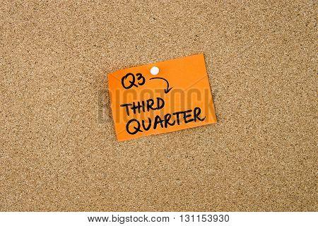 Q3 Third Quarter Written On Orange Paper Note