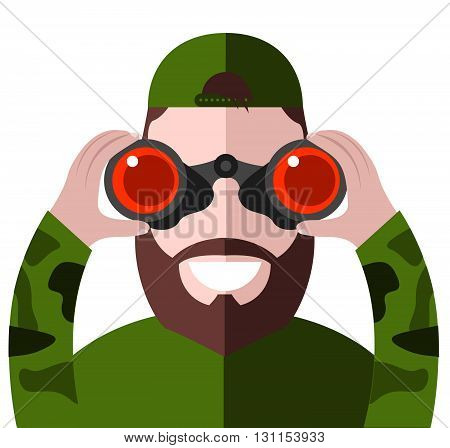 Man Looking Through Binoculars. Search Binoculars Vector Illustration. Binoculars In The Hands Of Ma