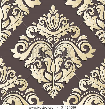 Seamless oriental golden ornament. Fine vector traditional oriental pattern with 3D elements, shadows and highlights