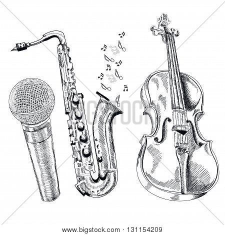 musical instruments set on white background. Vector.