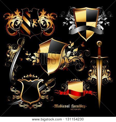 set of medieval heraldic shields and weapons