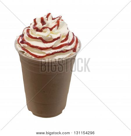 cold fresh mocha coffee smoothie in takeaway glass isolated on white background with clipping path