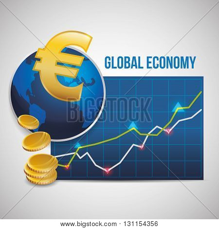 Global economy concept with icon design, vector illustration 10 eps graphic.