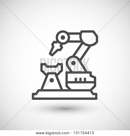 Robotic arm machine line icon isolated on grey. Vector illustration