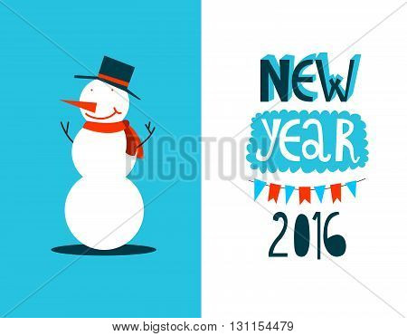 Snowman christmas poster or card. Happy new year