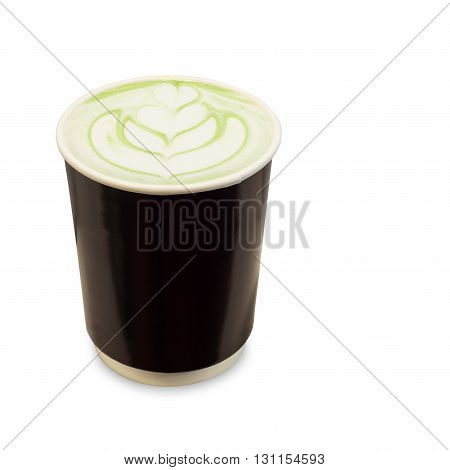 green tea latte in take away paper glass isolated on white background with clipping path