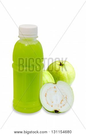guava juice in plastic bottle with fruit isolated on white background