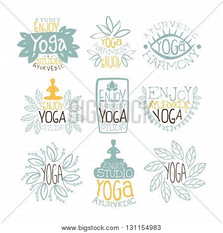 Ayurvedic Studio Vintage Stamp Collection Of Light Color Vector Design Labels On White Background