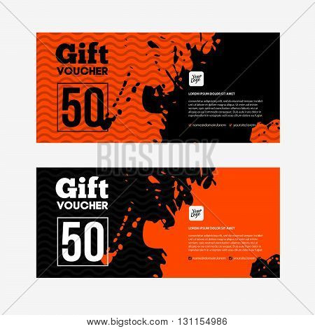 Orange And Black Sale Coupon Or Gift Voucher With Blot Or Splash.