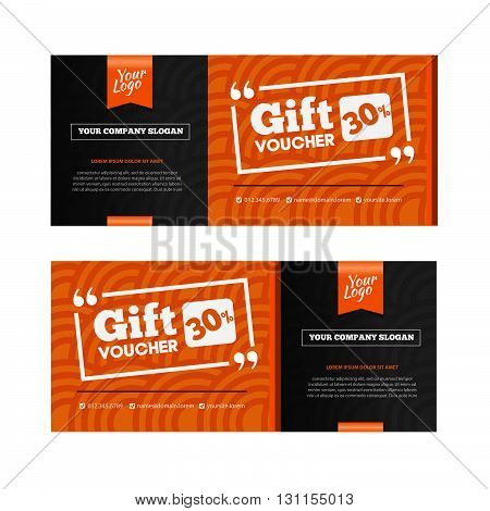 Two Coupon Voucher Design. Gift Voucher Template With Amount Of Discount And Contact Information. Fo
