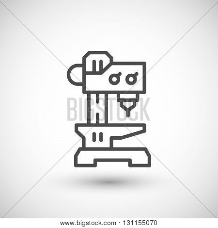 Drilling machine line icon isolated on grey. Vector illustration