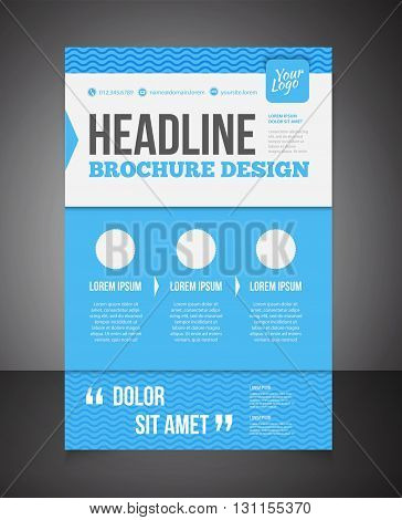 Blue Business Brochure Or Offer Flyer Design Template. Brochure Design, Blank, Print Design, Flyer W