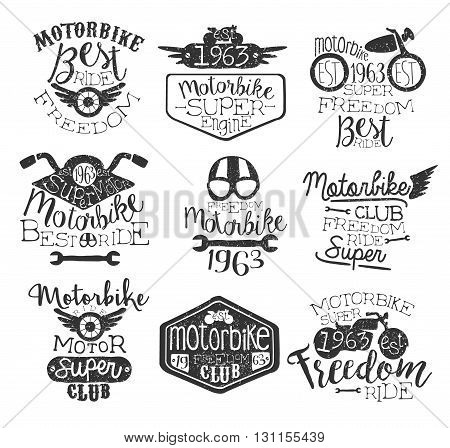 Best Ride Vintage Stamp Collection Of Monochrome Vector Design Labels On White Background