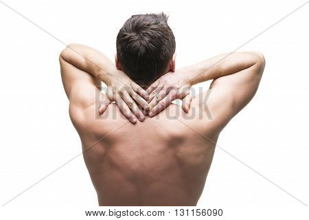 Pain in the neck. Man with backache. Muscular male body. Isolated on white background. Middle part of the body