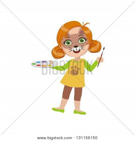 Girl With Cat Make Up Bright Color Cartoon Childish Style Flat Vector Drawing Isolated On White Background