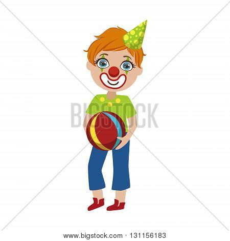 Boy In Clown Make Up Bright Color Cartoon Childish Style Flat Vector Drawing Isolated On White Background