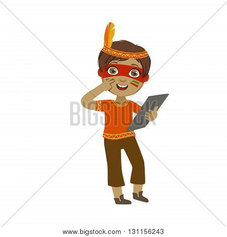 Boy With Indian Make Up Bright Color Cartoon Childish Style Flat Vector Drawing Isolated On White Background