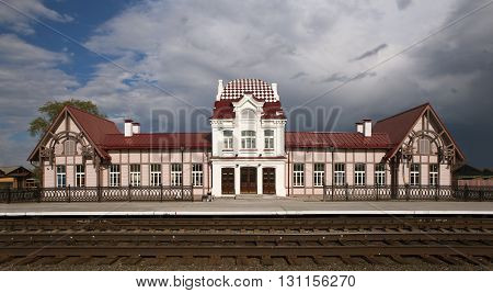 Train station Verkhoturye station. The station was built in 1903. The architect is unknown. Available: Str. Vokzalnaya, 1, pos. Privokzalny, Verkhoturye, Sverdlovsk region., Russia