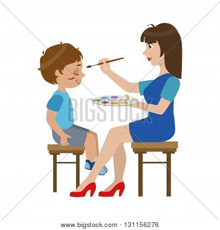 Artist Painting The Face Of The Boy Bright Color Cartoon Childish Style Flat Vector Drawing Isolated On White Background