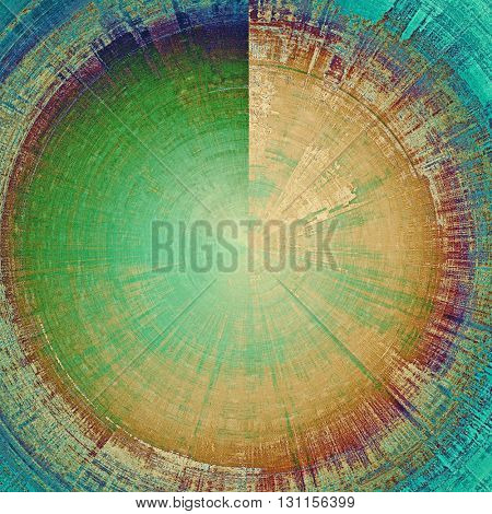 Spherical aged grunge graphic background with shabby texture in vintage style and different color patterns: yellow (beige); brown; green; blue; purple (violet); cyan