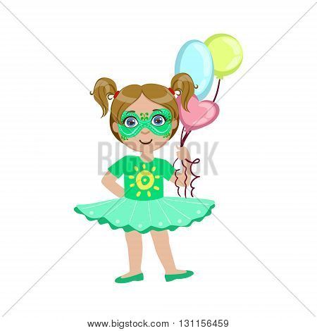 Girl With Painted Face Bright Color Cartoon Childish Style Flat Vector Drawing Isolated On White Background