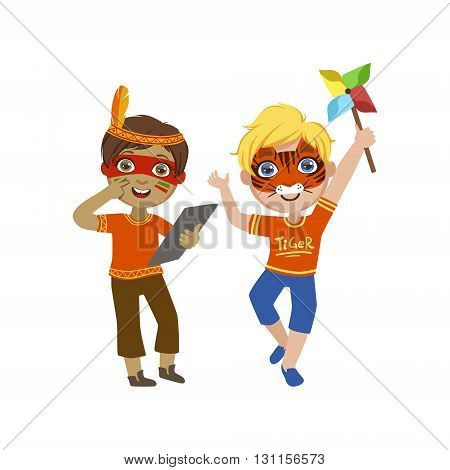 Two Boys With Painted Faces Bright Color Cartoon Childish Style Flat Vector Drawing Isolated On White Background