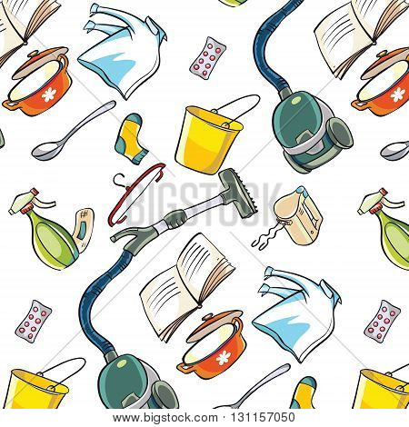 Vector pattern Doodle household items and clothing. Feminine care