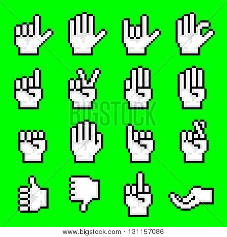 Pixelated Hand Gestures. Vector Illustration Of Pixelated Hand Gestures