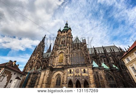 St. Vitus Cathedral, Prague, Czech Republic. Wide angle perspective