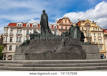 Jan Hus Memorial on the Old Town Square of Prague, Czech Republic. Sunny day.