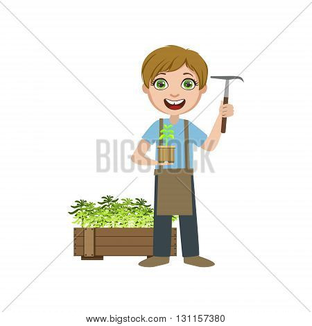 Boy In Apron With A Chopper Bright Color Simple Style Flat Vector Illustrations On White Background