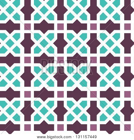 Arabic classic ornament outline pattern, vector seamless background