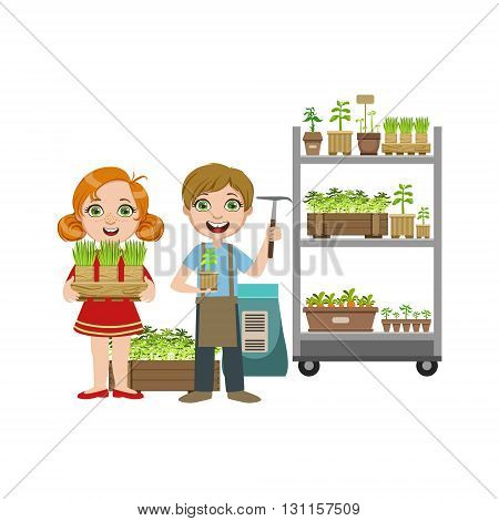 Girls And Boy With Gardening Inventory Bright Color Simple Style Flat Vector Illustrations On White Background